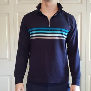 Banana Republic Blue Grey Stripe Quarter Zip